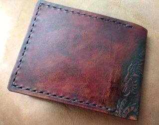 Mahogany Targaryen leather wallet back by Bubblypies