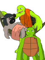 Raph, Mikey and Kintaro in krovate by vasilia95