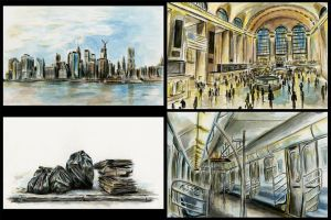 New York City Observation Paintings by LilioTheOne