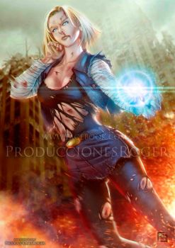 Android 18 WM by RogerGoldstain