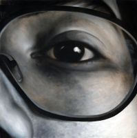 Lens, 100-100cm, 2010, oil on canvas by oanaunciuleanu