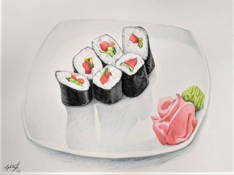 Sushi Colored Pencil by CosmicDebris