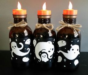 Recycled Ghostie Candle Holder Bottles by LadyWo1f