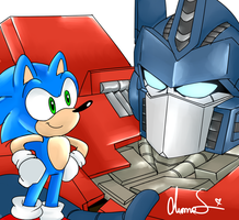Sonic and Optimus Prime by Shinkumancer
