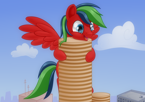 I shall hug this building which looks like pancake by Cyanspark