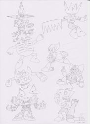 Group 4 Robot Master Poster drawing by Ocsttiac