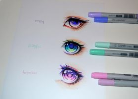 Colorful Manga Eyes by Lighane