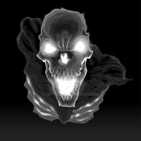 Black skeleton in the dark. Vector illustration by neptune82