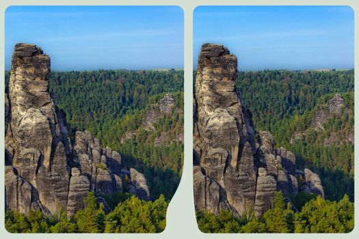 Elbe Sandstone Mountains II ::: HDR 3D Cross Eye by zour