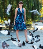 Girl and pigeons by Selora
