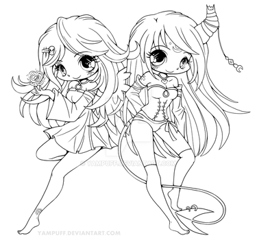 Suii and Iish Lineart by YamPuff