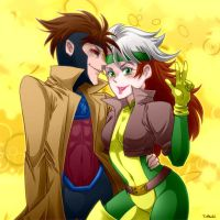 Rogue and Gambit in color (alt.) by GordonAlyx