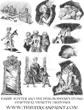 Harry Potter: Book 1 Chapter 12 vignette Drawings by TheGeekCanPaint
