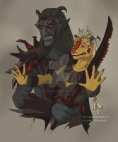 Dremora and Argonian by VictoriaDAEDRA