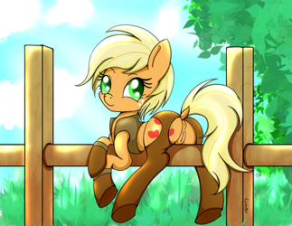 Applejack on a fence by Canisterpony