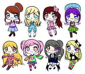 [OPEN - SET PRICED 90-150] Sketchy Chibi Adopts 4 by ninaanime