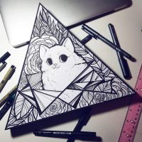 Geometric cat flower drawing/painting by Caspalpo