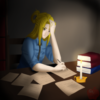 {DGM} working late by Mama--Miki