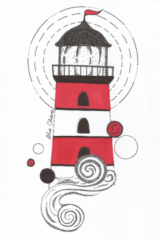 Dotwork lighthouse by Blue-Chara