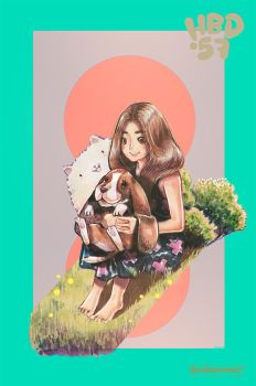Girl and Basset Hound by Raindropmemory