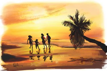 Tropical Sunset with Family by Kiracatures
