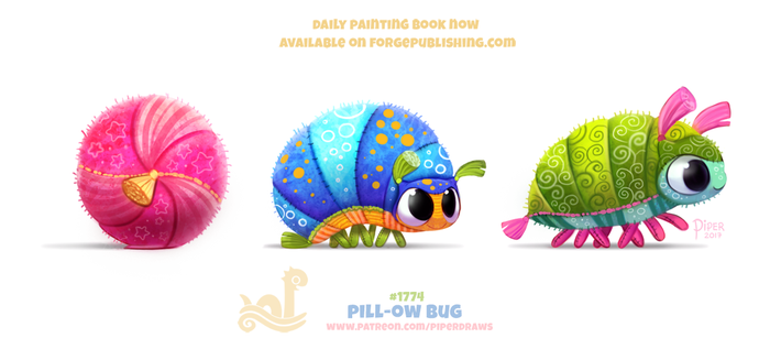 Daily Paint 1774# Pill-ow Bug by Cryptid-Creations