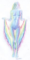 Rainbow colored naked woman by CORinAZONe