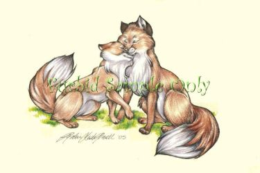 Spring Foxes by wielderofthewind