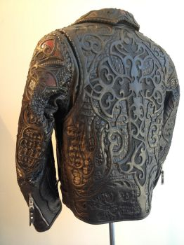 Logan Riese Leather jacket with skulls and cross by loganriese