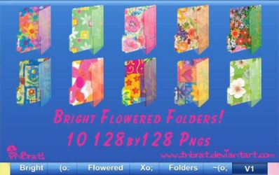 Bright Flowered Folders 1 Pngs by TNBrat