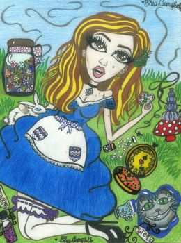 Alice in Wonderland Fan Art. by GlitterFairy92