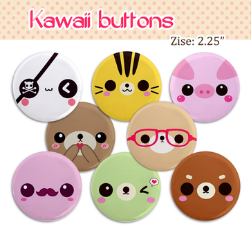 Kawaii 2.25 inch buttons sets giveaway by tho-be