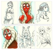 Star Wars Sketch Cards by Tsubasa-No-Kami