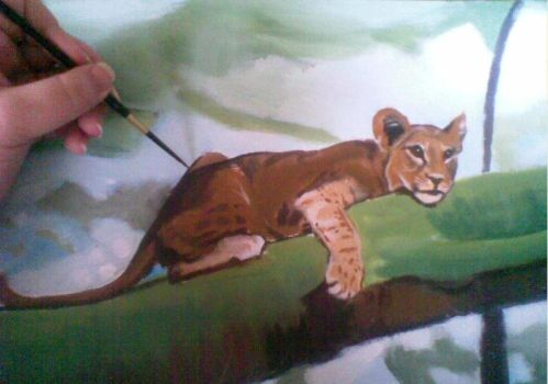 Lion cub in acrylics by VIZEarts