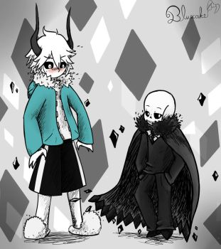 Sans and Kcalb by Bluecake80