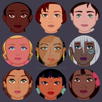 Animated heroines - face detail (4/6) by aquaninikochan