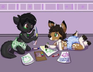 Little ones doodling. by TheCraziestWolf