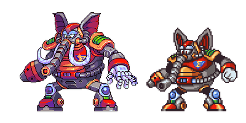 Flame Mammoth, MegaManX, pixel upgrade by Omegachaino