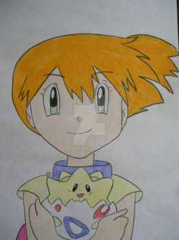 Misty with her cute Togepi by AJLeefan4life