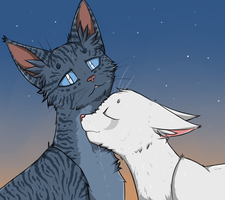 Jayfeather and Half Moon by Do-omed-Moon
