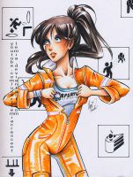 Copic Marker Chell from Portal 2 by LemiaCrescent