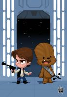 Baby Han and Chewie by cesarvs