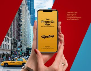 Free iPhone Xs Max In Female Hand Mockup PSD by Designbolts
