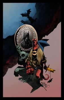 Hellboy Batman Inks By Penickart Color by PlanetKojo