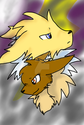 Eevee and Jolteon by Scyther-Wolf