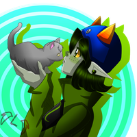 :Homestuck: Nepeta and a kitty by Miss--Royal