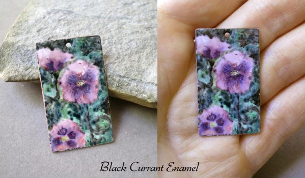 Purple Poppies - vitreous enamel on copper by blackcurrantjewelry