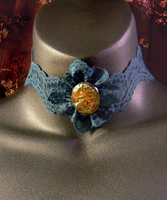 Green Lace and Iridescent Amber Cameo Choker by MorganCrone
