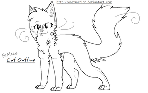 Female Cat Outline -hair by OneXWarrior