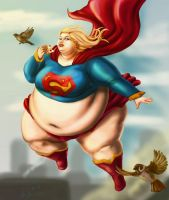Fat Supergirl redux by Ray-Norr
